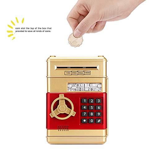FreeLeben ATM Bancos de Dinero, Billete de Monedas Guarro Electronico Cosas de Almacenamiento Caja de Ahorro de Dinero con Contraseña Gran Juguete de Regalo para Niños, Cumpleaños (Dorado)