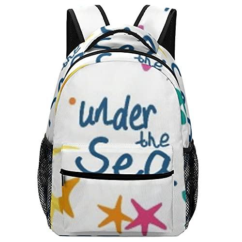 Zaino da ragazza in tela per computer portatile, versatile, unisex, in oceano, sotto il mare, borsa Kawaii impermeabile, grande borsa per la scuola, casual, per ragazzi, ragazzi e bambini