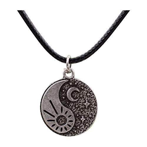 Fancychain Halskette Yin und Yang Buddha Buddhismus Retro Gegensätze buddhistische Kette Sonne Mond und Sterne