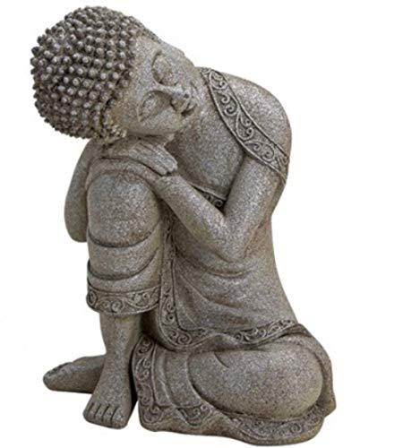 G.W. Buddha-Figur meditierend sitzend, 20 cm in weiß grau, Deko-Artikel für Wohnung & Haus, Buddha-Skulptur, Zen Garden, Wohnaccessoire, schöne Thai Statue
