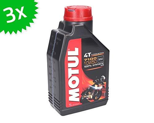 MOTUL 4T 10W50 7100 Aceite para Moto, 3 Unidades, 1 litro, 3 litros
