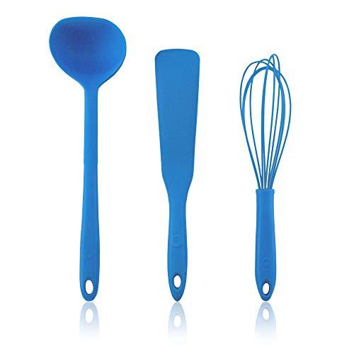 Kochblume Pfannkuchen Set | Schöpfkelle L, Pfannenspatel, Schneebesen L | in der pinken Box (blau)