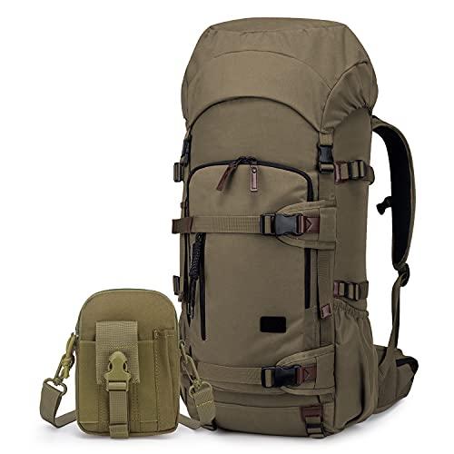 TAK Zaino Tattico Militare 50L/60L Zaino da Trekking Grande capacità Zaini di Assalto per Campeggio Viaggio Addestramento Scout Khaki + Khaki