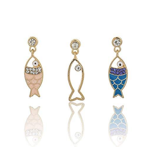 3 unids/set lindo colorido pescado hueco cristal gema pendientes para las mujeres tendencia creativo geométrica fiesta joyería