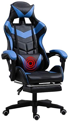 Armchairs GSN Computer Chair Ergonomics High Back Office Desk Chair with Footrest Built-in Latex Cushion Leather Desk Gaming Chair Height Adjustable with Headrest and Lumbar Massage Support