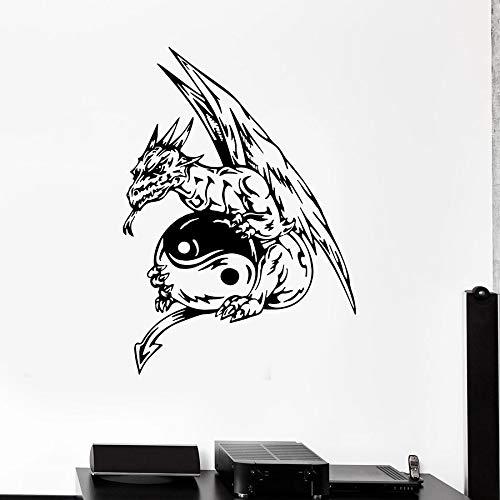 Tianpengyuanshuai Yin Yang Tatuajes de Pared Dragon Monster Fantasy Story Decoración del hogar Dormitorio Juvenil Vinilo 90X4cm