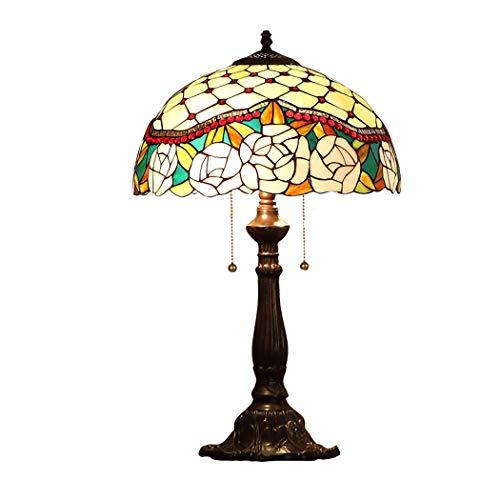 LHFJ Tiffany - Lámpara de Mesa, 16', Rosa Rosa, Perlas de Cristal, vidriera, lámpara de Lectura, lámpara de Escritorio, Sala de Estudio, lámpara de Escritorio con Base de aleación Antigua