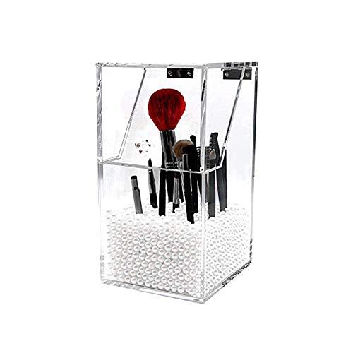 Wencaimd Maquillage Brosse Support Épais Acrylique Carré Multifuncation Rangement Boîte avec Poussière Housse pour Sourcil Stylo Épingles Caoutchoucs Protège Rouges à Lèvres - Blanc, Small