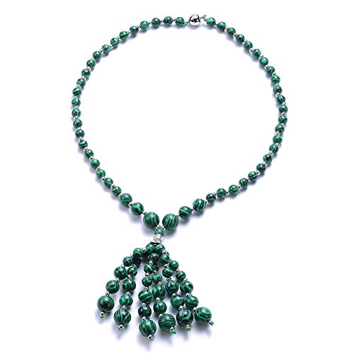 TJC Bead String Necklace for Womens Size 18 Inches Green Malachite Gift for Wife/Girl Friend/Mother
