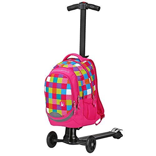 LIUXING-Zuhause Großes Lagergepäck Elektrisches Gepäckladegepäck bewegliche Stab-Boxen elektrischer Roller for Jugendliche geeignet (Farbe : Rosa, Größe : 56×36×25CM)