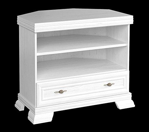 Furniture24 Tv Eckschrank Kora KRTN Eckkommode Lowboard unterschrank Fernsehentisch mit Schublade und Einlegeboden (Andersen Kiefer)