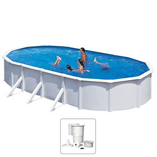 KWAD Schwimmbad Winterfest Stahlwandbecken Schwimmbecken Swimming Pool Familienpool Planschbecken Aufstellbecken Swimmingpool Oval 7,3x3,6x1,2m 28500L
