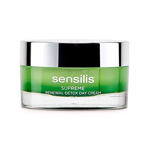Sensilis Supreme - Crema de Día Detoxificante y Regeneradora con Ácido Hialurónico, Aceite de Argán y Moringa Oleifera, SPF15 - 50 ml