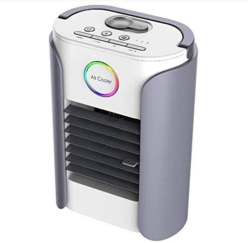 Mini enfriador de aire multifunción USB portátil, aire acondicionado portátil, ventilador de mesa, mini enfriador evaporador, 3 velocidades, conexión Bluetooth y radio