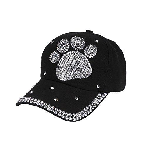 Queenbox Baseball Cap Mit Strass Bling Männer Frauen Kind Sommer Lässig Einstellbar Hip Hop Sonnenblende Hut, Schwarz