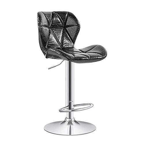 JPL Bar,Cafe,Restaurant Chair,Stylish Breakfast Bar Stool, Bar Chair High Chair, Rotating Chrome-Plated Pu Footrest Height Adjustable 60-80Cm, Kitchen Counter Bar, Black