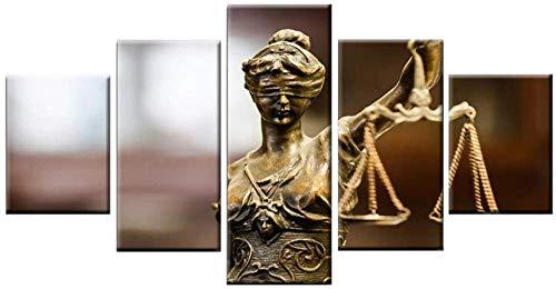 Impresiones en lienzo modernas Obra de arte 5 paneles Lienzo Arte de la pared Estatua de la diosa de la justicia Decoraciones de oficina en casa Impresiones enmarcadas Carteles de imágenes