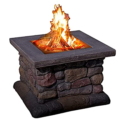 Fire Pit Outdoor Garden Terrace Square Brazier, fire Pit Table with Barbecue Grill, Courtyard Wood fire Pit (Color : Style2) from Lijack