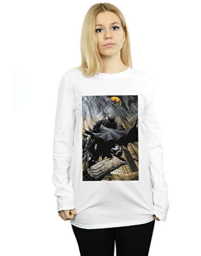 DC Comics Mujer Batman Night Gotham City Novio Fit Manga Larga De La Camiseta Blanco X-Large