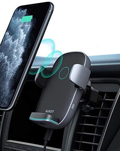 AUKEY Caricatore Wireless Auto Auto-Bloccaggio Qi Caricabatterie Ricarica Rapida Supporto 10W/7.5W/5W per iPhone 12/11 Pro Max/11/X/8Plus, Samsung Galaxy S10/S9/Note 8, Huawei Mate P20/30 Pro e Altri