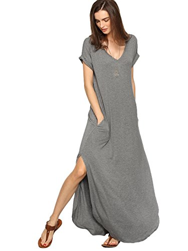 Casual V Neck Side Split Long Maxi Dress