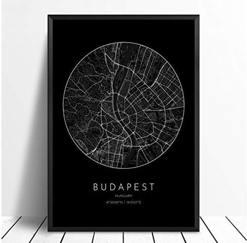 QINGRENJIE Wandkunst Bild Leinwand drucken Poster Budapest Ungarn Stadtplan Poster Leinwand Poster für Wohnzimmer Dekor 42 * 60 cm ohne Rahmen