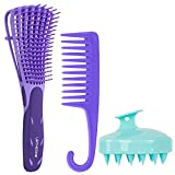 Detangling Brush Scalp Massager Shampoo Hair Brush Set,Hair Brushes with Soft Silicone Scalp Massager Exfoliator for Dandruff Removal for Women Men Kids Kinky Curly Coily and Wavy Wet and Dry Hair