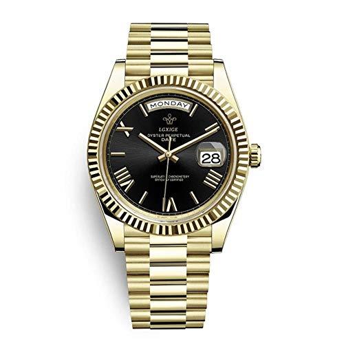 ZMCW Armbanduhren Markenuhr Herren Top Roman Scale Herren Armbanduhr wasserdichte Day Date Uhr für Herren, Gold Schwarz