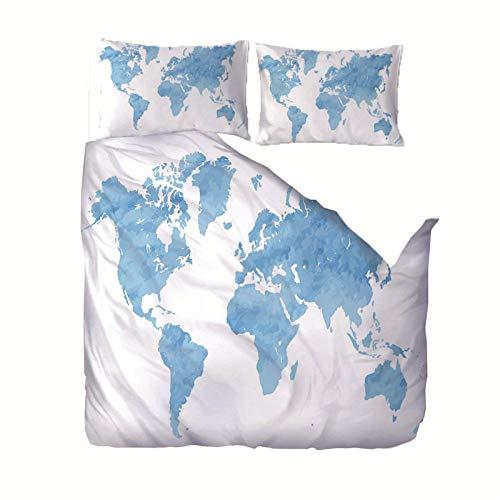 Juego de Funda nórdica 220x240 cm Mapa Blanco azulen 3D con Cierre de Cremallera de 3 Piezas con 2 Fundas de Almohada 50x75cm, en 100% Poliéster