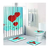 HSF Día Cortina de Ducha Cuarto de baño WC la Estera del Piso Combinación de San Valentín de la Alfombra de Ducha Mat Espacio for los pies de Pastillas de 4 Piezas Alfombra de baño