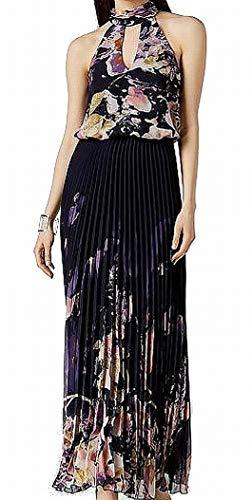 Xscape Womens Halter Pleated Evening Dress Navy 8