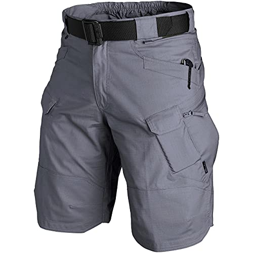 PrunGoo Cargo Shorts Men Waterproof Tactical Shorts for Men Breathable Hiking Shorts Men Quick Dry Outdoor (Grey, Small)