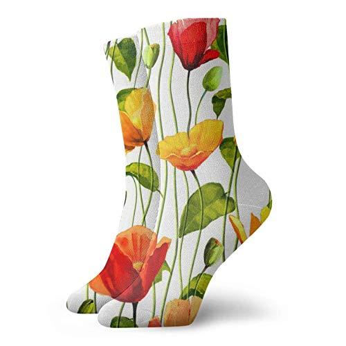 Poppies on Vines - Calcetines divertidos para hombre y mujer
