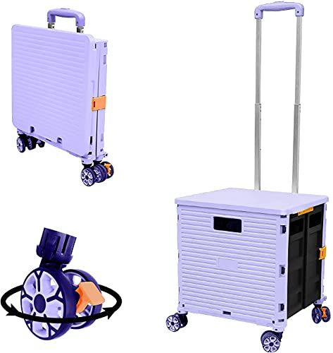 Foldable Utility Cart Folding Portable Rolling Crate Handcart Shopping Trolley Wheel Box with Lid Wear-Resistant Noiseless 360°Rotate Wheel for Travel Shopping Moving Storage Office Use (Purple)