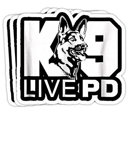 PinkBoar Police Dog - German Shepherd - Live PD - K9 Gift Decorations - 4x3 Vinyl Stickers, Laptop Decal, Water Bottle Sticker (Set of 3)