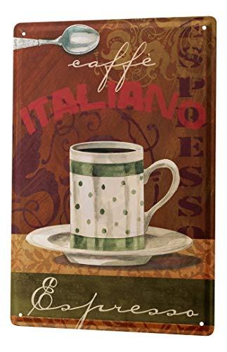 """Kitchen Tin Sign Plate Italian espresso Metal Plate 8X12"""""""