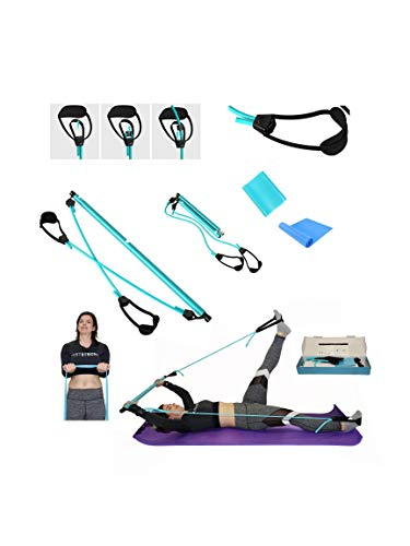 Danonec Adjustable Pilate Bar Kit Included with Durable Elastic Band for Full Body Exercise, Yoga, Home Gym, Indoor and Outdoor Workout