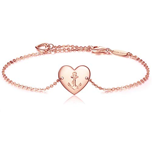 925 Sterling Silver Anchor Heart Adjustable Bracelet for Womens Sisters Friends Mother