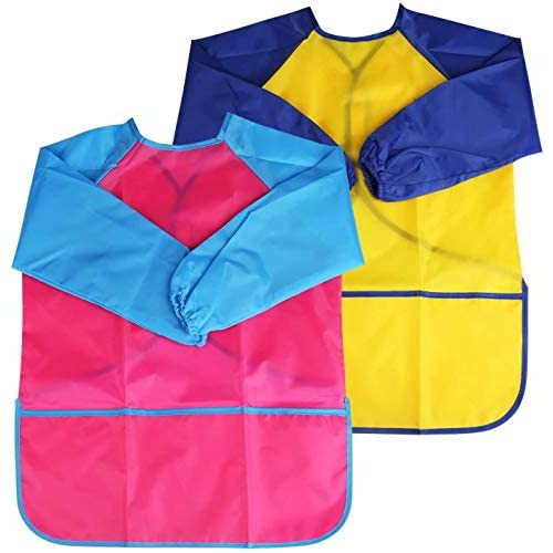 BelleStyle 2 Pezzi Grembiule Pittura Bambini, 2 Pack Grembiulino Scuola Grembiule Pittura Maniche Lunghe per Bambini 3-6 Anni (Blu & Rosso) (Pink And Yellow)