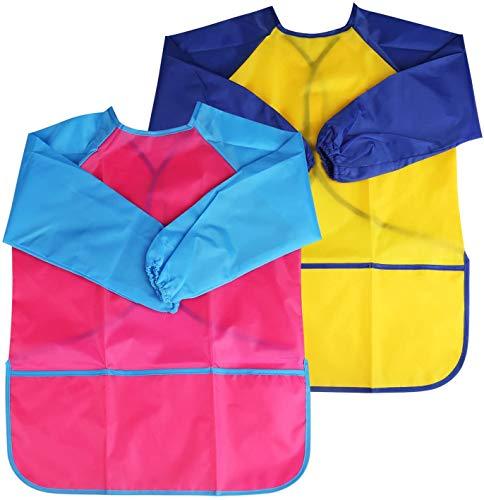 BelleStyle Delantales de Niños, 2 Pack Delantal para Cocina y la Pintura para 3-6 Años Niños (Azul and Rojo) (Pink and Yellow)