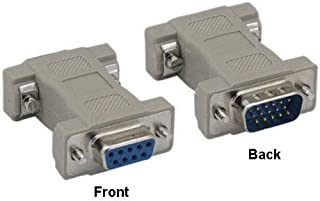 Kentek DB9 9 Pin Female to HD15 HDD15 15 Pin Male, Male to Female M/F Molded CGA/VGA Video Adapter Gender Changer Coupler RS-232