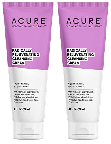 Acure Organic Mint and Olive Oil Facial Cleansing Creme With Acai, Blackberry, Rosehips, Pomegranate, Chamomile, Rooibos, Aloe Vera and Echinacea For Skin Clearing and Fighting Acne, 4 oz. (Pack of 2)