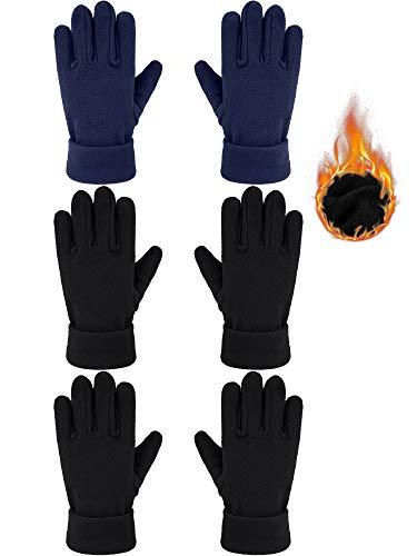 SATINIOR 3 Paar Kinder Winter Fleece Handschuhe Weiche Warme Vollfingerhandschuhe für Jungen und Mädchen (Schwarz, Marineblau, 5-8 Jahre alt)
