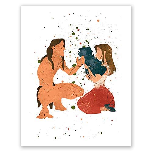 PGbureau Tarzan and Jane Poster – Nursery Kids Room Wall Art Home Decor – Watercolor Artwork – Cute Illustration – Party Decoration – Birthday (8x10)