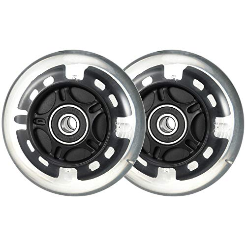 kutrick Light Up 80mm Inline Skate Wheels and Kick Scooter 80mm Rear Wheels Replacement Pair - 80mm Led Flashing Wheels Replacement for Inline Skate and Kick Scooter with Installed Abec9 Bearing