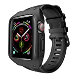 VANCHAN Compatible with Apple Watch Band Case 44mm Series 4 Series 5, Sport Soft Liquid Silicone Bands with Protective Cover for Iwatch Series 4/5 44mm (Black)