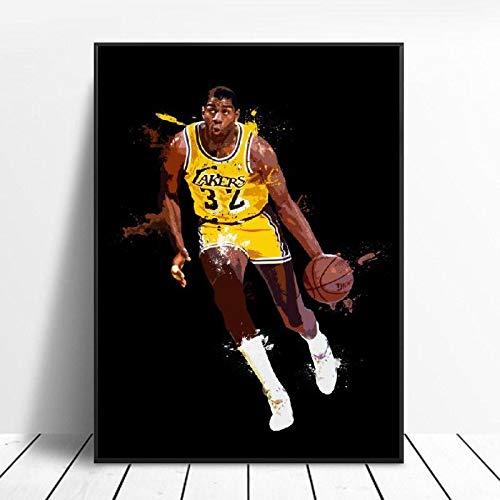 SDFSD basketbalspeler kunst canvas poster afdrukken naar huis wanddecoratie schilderij 50X75CM E