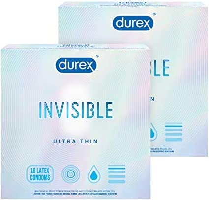 Durex Invisible Condoms, Ultra Thin, Ultra Sensitive Natural Rubber Latex Condoms for Men, FSA and HSA Eligible, 16 Count (Packaging May Vary)