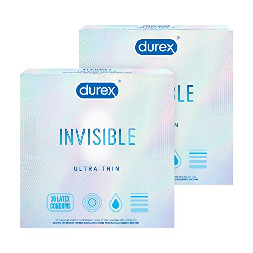 Durex Invisible Condoms, Ultra Thin, Ultra Sensitive Natural Rubber Latex Condoms for Men, FSA and HSA Eligible, (Pack of 2) ,16Count (Packaging May Vary)