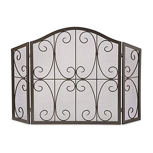HMBB 3 Panel Spark Guard,Iron Fireplace Screen Panel, Metal Mesh Safety Fire Place Guard for Wood,Decorative Scroll Design,Fireplace,Stoves,Grills